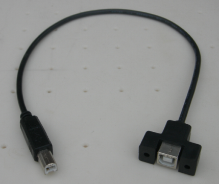 USB B Male to Female Panel Mout Cable - Click Image to Close